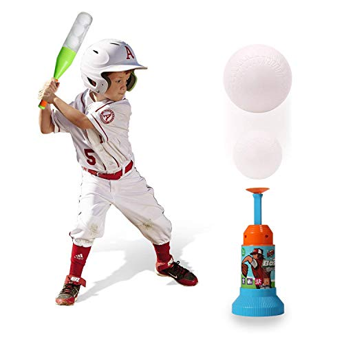 (EXERCISE N PLAY Training Automatic Launcher Baseball Bat Toys - Indoor Outdoor Sports Baseball Games T-Ball Set for Children)