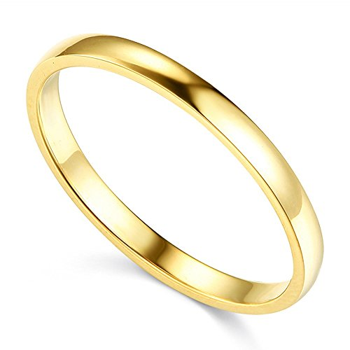 14K Solid Yellow Gold 2MM Plain Regular Fit Wedding Band, Size 5