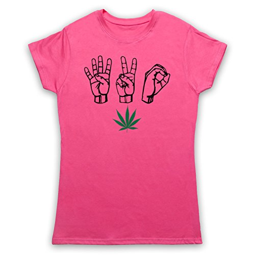 420 Cannabis Leaf Weed Pot Culture Fingers Camiseta para Mujer Rosa