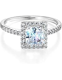 Ladies Solid 14k Yellow -OR- White Gold Polished CZ Cubic Zirconia Princess Cut Halo Engagement Ring with Side Stones