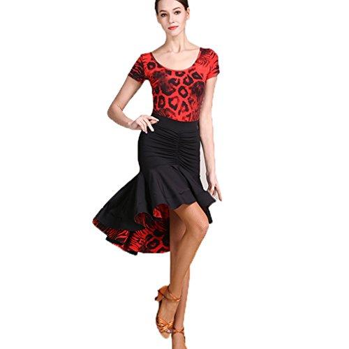 De Baile Wangmei Manga Práctica Baile Para Competición Latino Profesional Estampado Vestido Mujer Traje Rojo Corta Y 11B5Hqwn