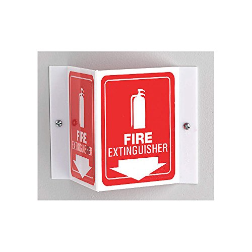 Fire Extinguisher Sign, 6 x 8-1/2In, WHT/R