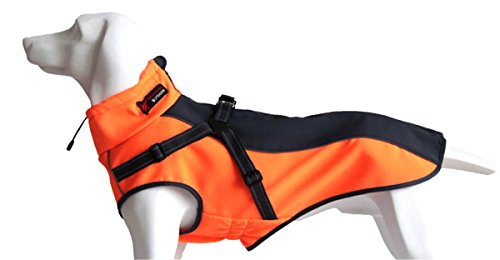 Xanday Dog Jacket with Harness, Windproof Dog Vest with Reflective Strips for Medium Large Dogs, Warm and Cozy Dog Sport Vest, Dog Winter Coat, Warm Dog Apparel with High Neckline Collar