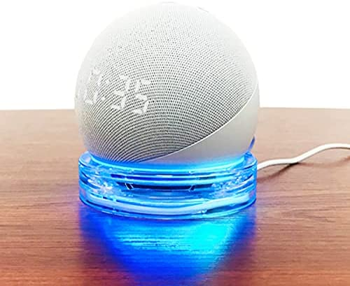 Table Holder for Echo Dot 4th Gen Smart Speaker, Clear Desktop Base Stand Mount for Echo Dot 4th Generation, with Cord Organizer(Holder Only)