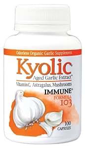Kyolic Aged Garlic Extract Formula 103 Immune Formula (100 Capsules) Odorless Organic Garlic Supplement with Astralagus & Vitamin C, Soy- Gluten-Free, Gentle on the Gut Garlic Pills