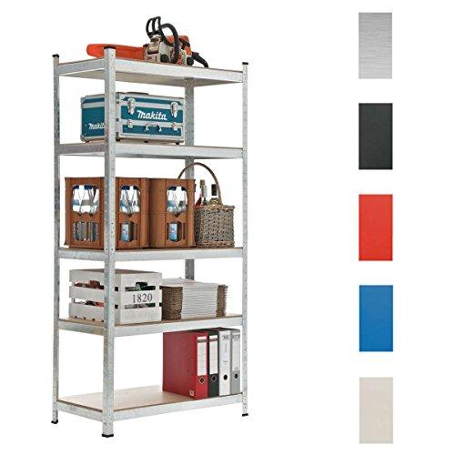 CLP Schwerlastregal, Metall, verzinkt, Tragkraft 875 kg, 5 Böden, Lagerregal Farbe + Höhe wählbar silber, 180 x 90 x 40 cm