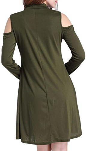 Grande Saveur Des Femmes De Manches Longues Épaule Froid Choker Vert Lâche Armée Robe T-shirt Décontracté