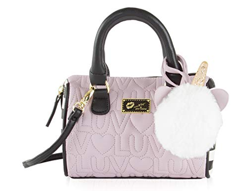 Luv Betsey Johnson Harlli Quilted/Stripe Mini Crossbody Satchel Bag - Mauve Luv/Heart