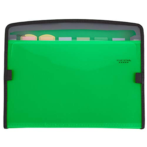 Five Star Expanding File, 7-Pocket Expandable Folder, Zipper Closure, Customizable, Green (72707)