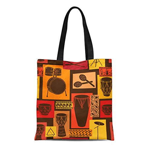Semtomn Canvas Tote Bag Shoulder Bags Colorful Music Abstract Geometric Musical of Drum and Percussion Women's Handle Shoulder Tote Shopper Handbag
