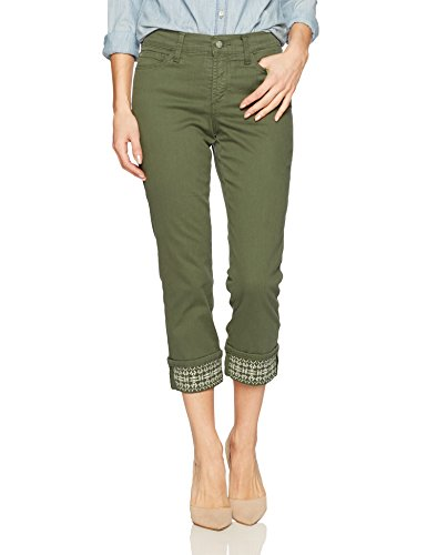 (NYDJ Women's Dayla Wide Cuff Capri Jeans, Topiary - Embroidered 10)