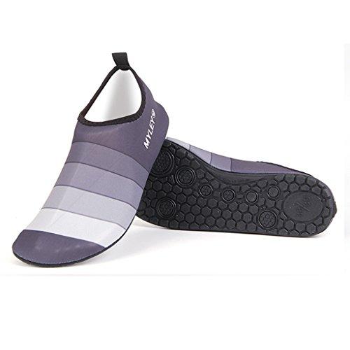 GFtime Wasser Schuhe, Unisex Männer Frauen Barfuß Quick Dry Slip On Aqua Schuhe für Schwimmen Beach Pool Surf Yoga Sport Erwachsene-grau
