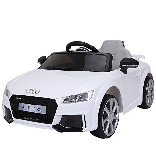 Costzon Kids Ride On Car, Licensed 12V Audi TT RS, Remote Control Manual Two Modes Operation, MP3 Lights (White) (Licensed Car)