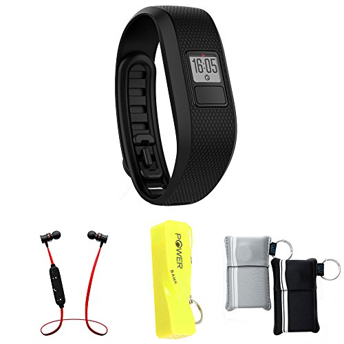 Garmin Vivofit 3 Activity Tracker Fitness Band - X-Large Fit - Black (010-01608-04) with Xtreme Fusion Bluetooth Headphones Black/Red, 2600mAh Keychain Power Bank &Neoprene Pouch by Garmin