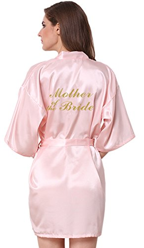 JOYTTON Women's Wedding Party Satin Robe with Gold Glitter Mother of The Bride