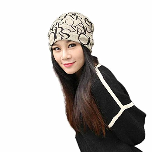 Qike Cotton Letter Slouchy Hip-Hop Beanie Skull Cap Hat Head Scarf Men Women coffee