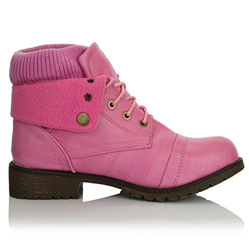 DailyShoes Frauen Kampf Stil Bis Pullover Top Ankle Bootie Mit Tasche Für Kreditkarten Messer Geld Brieftasche Tasche Stiefel Rosa Pu