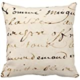 Huacel Throw Pillow Case, Vintage Tan French Letter Script Parchment Throw Pillow Case Cushion Cover Home Sofa Decorative 18 X 18 Squares