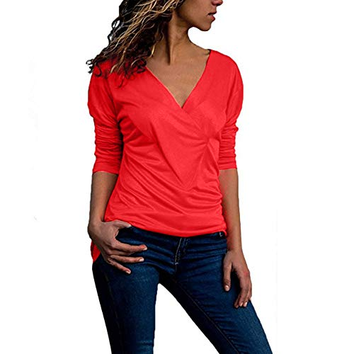 Plain Manches Rouge Blouse FashionSolid Roll Chemise Dames Tonsee T Neck Femme Shirt Tops V Office gRxUqzw