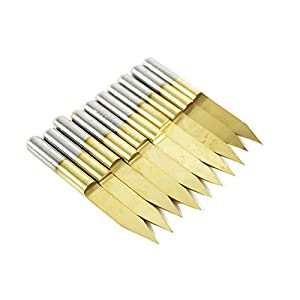 Autek 10x Titanium Coated Carbide PCB Engraving CNC Bit Router Tool 30 Degree 0.1mm Tip(J3.3001Tix10)