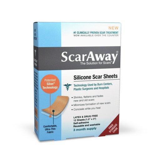 Fiches traitement Scar ScarAway Professional Grade Silicone - Full Dr recommandé 12 Semaine 12 approvisionnement multi-utiliser des patches avec étui de rangement gratuits inclus