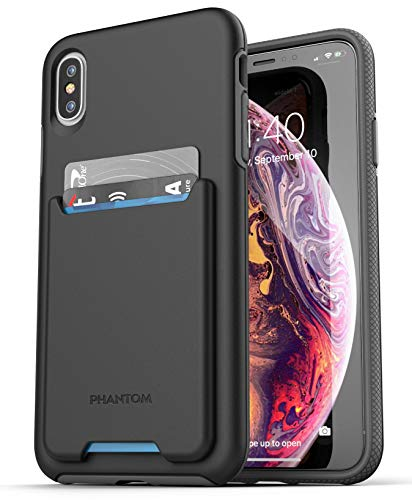 Encased iPhone Xs Max Wallet Case (2018) Ultra Durable Cover with Card Holder Slot (3 Credit Cards Capacity) (Black)