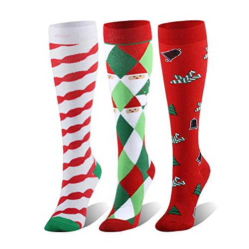 (Compression Socks For Women & Men - 20-25mmHg - 1 to 4 Pairs Stockings for Running, Athletic,Varicose Veins, Travel (Christmas Socks,)