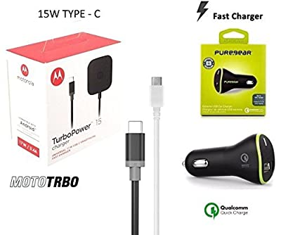 Motorola TurboPower Universal USB-C Fast Charger With 2.0 Fast PureGear Car Charger + TYPE C USB - (Retail Packing)