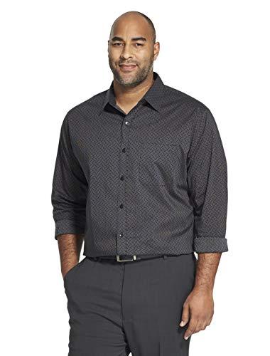 Van Heusen Men's Tall Traveler Stretch Long Sleeve Button Khaki/Grey Shirt, Black Pattern, 3X-Large Big (Van Heusen Dress Shirt Xxxl)
