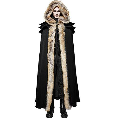 Punk Rave Black Winter Warm Gothic Wool Faux Fur Collar Long Cape Cloak for Men (Men Cloak Jacket)