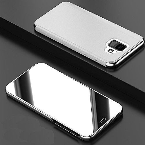 Leather Case with Stand for Galaxy A6 Plus 2018,Bookstyle Flip Case Cover for Galaxy A6 Plus 2018,Leecase Mirror Effect Transparent View Standing Function for Samsung Galaxy A6 Plus 2018-Silver by Leecase