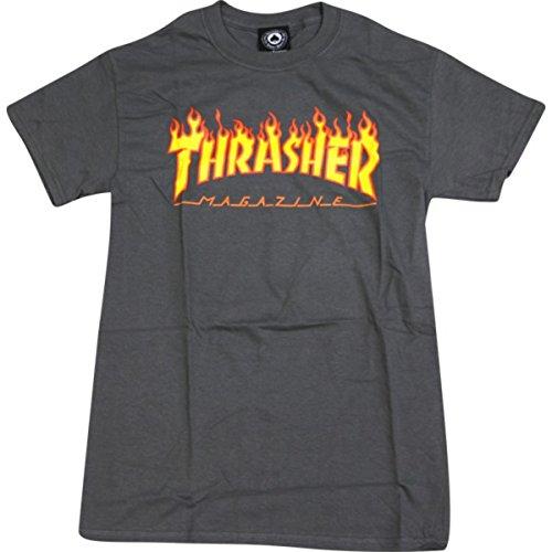 Thrasher Magazine Flame Grey T-Shirt - X-Larg by Thrasher