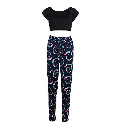 La Cabina Vêtement de Sport Femme -Ensembles Sportswear pour Femme -Deux Pièce Top +Pantalon Confortable pour Sport Yoga