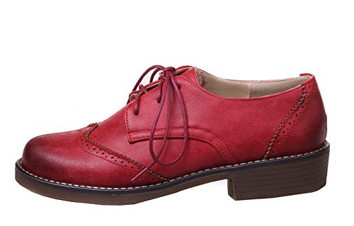 AmoonyFashion Womens Lace-Up PU Round Closed Toe Low-Heels Solid Pumps-Shoes Red yoXIP