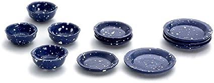 NEW 12 pc SPATTERWARE PLATES /& BOWLS SET 1:12 Dollhouse Miniature DISHWEAR