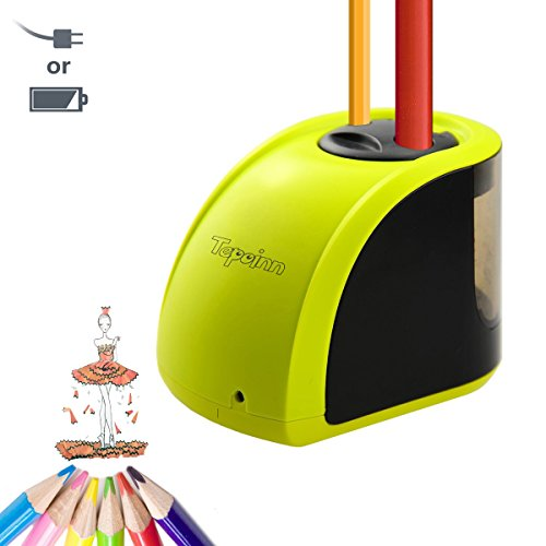 Tepoinn Electric Pencil Sharpener Heavy Duty Manual Battery Operated School Pencil Sharpener for Kids, Art Pencils, Classroom, Office (Upgraded Version) (Upgraded Version) by tepoinn