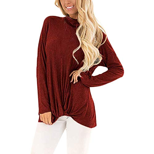 ANJUNIE Women Casual Long Sleeve Bottom T Shirts Solid Color Twist Knot Tunics Tops(Red,M)