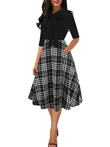 oxiuly Women's Vintage Bow Tie V-Neck Pockets Casual Work Party Cocktail Swing A-line Dresses OX278 (M, Black Plaid PT) ()
