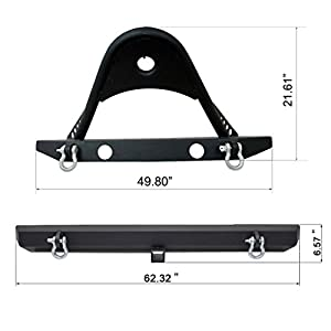 E-Autogrilles YJ TJ Jeep Wrangler Front and Rear Bumper Combo with Stinger and Hitch Receiver Jeep