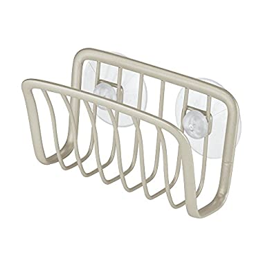 InterDesign Axis Kitchen Sink Suction Holder for Sponges, Scrubbers, Soap - Satin