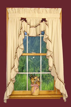 Jenny Country Ruffle 3 Piece Swag Curtains Set 135-Inch-by-45-Inch - 1 1/2 Inch Rod Pocket, ()