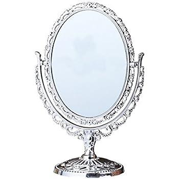 Kingfom antique two sided swivel oval desktop for Oval swivel bathroom mirror