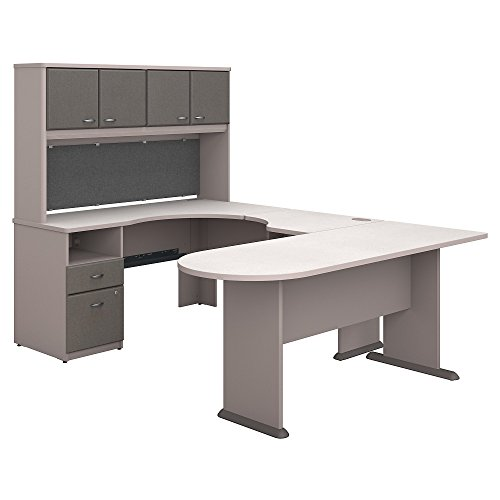 (Bush Business Furniture Series A U Shaped Desk with Hutch, Peninsula and Storage - Pewter/White Spectrum 71W X 92D X 66H ERGONOMICHOME BUSH BUSINESS FURNITURE Scroll Down for Product Description)