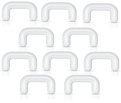 Pierced Owl Set of 10 Clear Acrylic Septum Ring Retainers, Metal Free, Allergy Free (16GA (1.2mm)) -