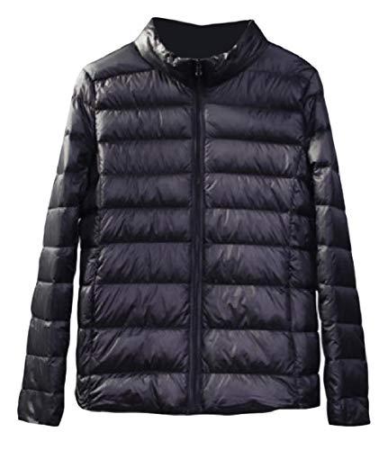 Sleeve Collar Womens up Coat Mogogo Long Skinny Lightweight Stand Black Down Zip Pocket dwYqxOqIC
