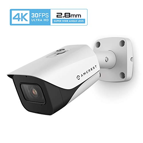 Amcrest 4K POE Camera 30fps UltraHD 8MP Outdoor Bullet PoE IP Camera, 164ft Night Vision, 2.8mm Narrower Lens, 111° Viewing Angle, IP67 Weatherproof, 4K (3840×2160) @30fps, White (IP8M-2597EW-28MM)