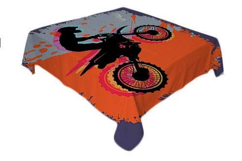 Flyerer Dirt Bike Outdoor Picnics Grunge Composition of a Biker in a Stunt Move Cross Country Tournament Theme Multicolor Waterproof Table Cloth Square tablecloths 50 by 50 inch ()