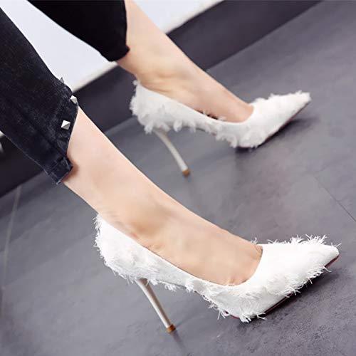 HOESCZS 2019 Frühjahr und Herbst Neue Mädchen High Heels Spitze Temperament Quasten mit flachen Mund einzelne Schuhe weiß
