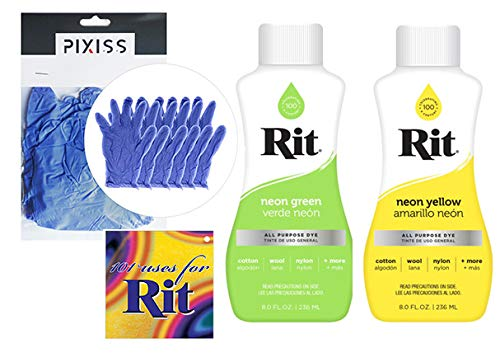 Rit All Purpose Dye Liquid 2 Pack Bundle Neon Green and Neon Yellow with 3 Pair Pixiss Gloves and Rit Uses Guide