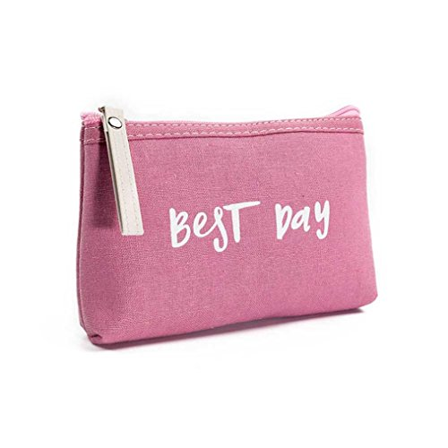 Women Best Day Letters Zipper Cosmetic Bag Coin Purse Wallet Handbag (A)